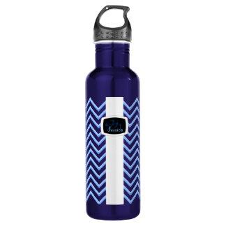 Customisable Chevron Powder Blue (Monogram) Water Bottle