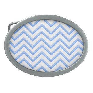 Customisable Chevron Powder Blue Oval Belt Buckle