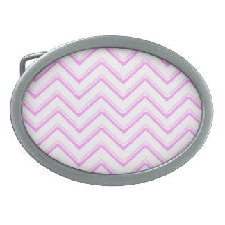Customisable Chevron Soft Pink Oval Belt Buckle
