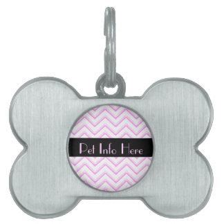 Customisable Chevron Soft Pink Pet ID Tag