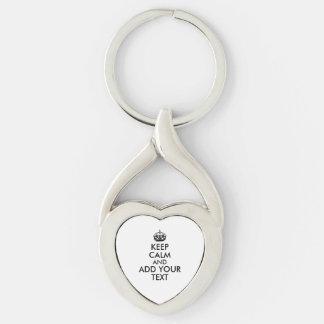 Customisable Color Text Keep Calm Keychain Heart