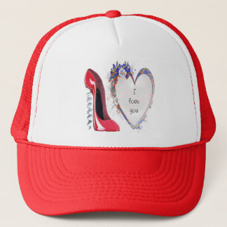 Customisable Corkscrew Stiletto and Heart Gifts Trucker Hat