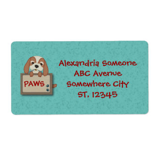 Customisable Cute Puppy Dog with Signboard Label