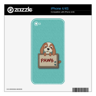 Customisable Cute Puppy Dog with Signboard iPhone 4 Skins