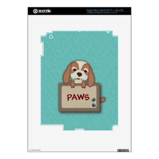 Customisable Cute Puppy Dog with Signboard Decal For iPad 3