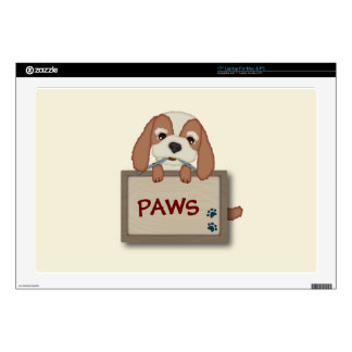 """Customisable Cute Puppy Dog with Signboard Decals For 17"""" Laptops"""