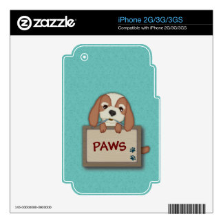Customisable Cute Puppy Dog with Signboard Decals For The iPhone 3GS