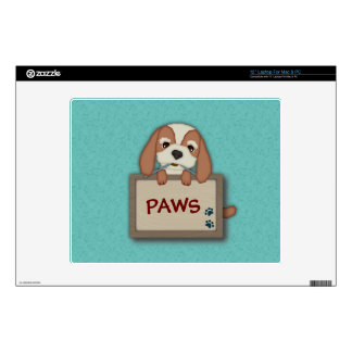 """Customisable Cute Puppy Dog with Signboard Decal For 12"""" Laptop"""