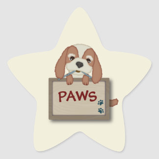 Customisable Cute Puppy Dog with Signboard Star Sticker