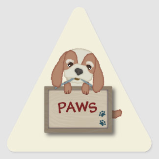 Customisable Cute Puppy Dog with Signboard Triangle Sticker