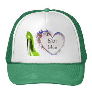 Customisable Floral Heart and Green Stiletto Shoe Trucker Hat