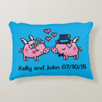 Customisable Flying Pig wedding memento Decorative Pillow