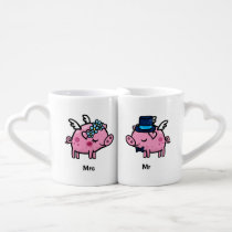 Customisable Flying Pigs couples mugs
