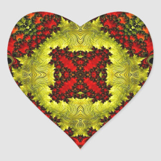 Customisable Fractal Heart Stickers