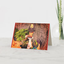 Customisable Garden Gnome Holiday Card
