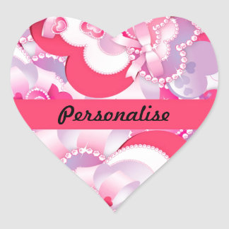 Customisable Glitzy Girly Pink Hearts & Jewels Sticker