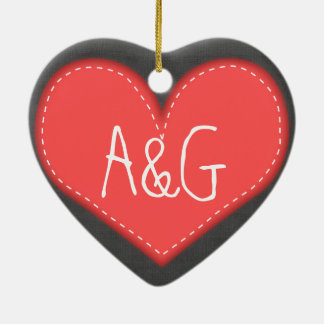 Customisable initials love heart ornament