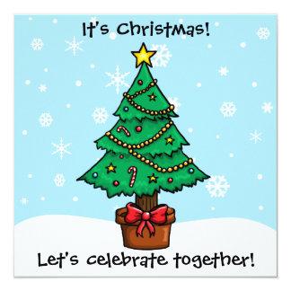 Customisable Jolly Cartoon Christmas Tree Card