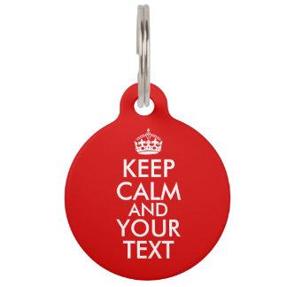 Customisable Keep Calm Dog Tag Add Your Text Color