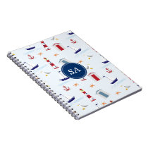 Customisable Monogrammed Nautical Back to School Notebook