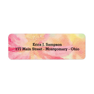 Customisable Pink Floral Watercolor Labels