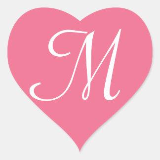 Customisable Pink Heart Sticker Monogram
