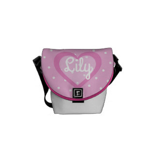 Customisable Pink Polka Dot Mini-Messenger Bag