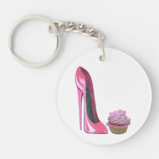 Customisable Pink Stiletto and Cupcake Key chain