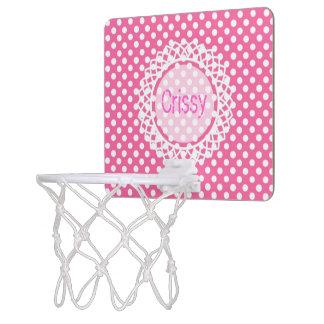 Customisable polka-Dot Monogram Hoop Mini Basketball Backboard