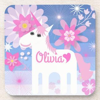 Customisable Pretty Pink Unicorn Coasters