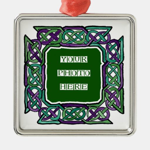Customisable Purple and Green Knotwork Ornament