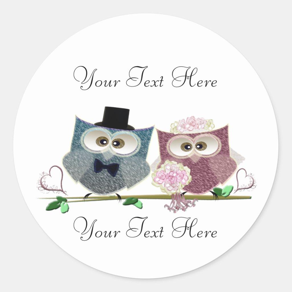 Customisable Wedding Owls Art Round Sticker