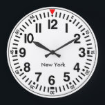"""Customisable Worldtime Large Clock<br><div class=""""desc"""">Beautiful new design,  made in Sweden with a customisable city name template that you can replace. Ideal for the office to show the time in another city in the world. Design with a red twelve.</div>"""