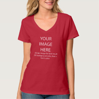 customise it, Hanes Nano V-Neck/red T-Shirt