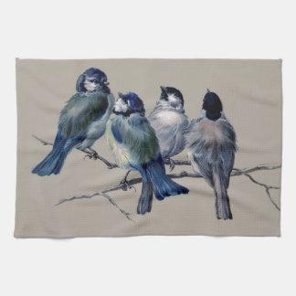 Customise lovely vintage art blue birds on branch kitchen towel