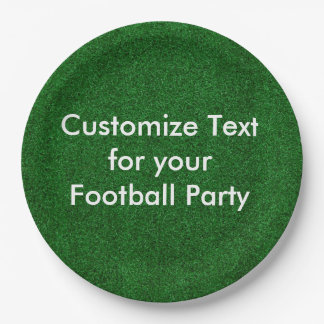 "Customise text on 9"" paper plate/football turf paper plate"