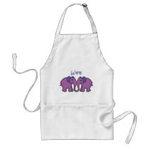 Customised Wife's Cartoon Elephant Couple Adult Apron