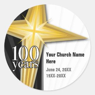 Customizable 100 Year Church Anniversary Classic Round Sticker