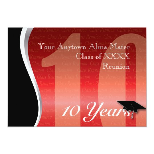 Customizable 10 Year Class Reunion Card