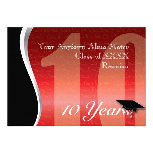 Customizable 10 Year Class Reunion Invites