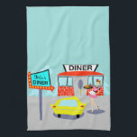 """Customizable 1950&#39;s Diner Kitchen Towel<br><div class=""""desc"""">Serve up something special with this Customizable 1950&#39;s Diner Kitchen Towel. The cartoon drawing design features a red brick building with blue windows, gray double doors, and a white sign that says, &quot;Diner&quot; perched on the roof. In the parking lot, a second sign is on a pole. The sign has...</div>"""