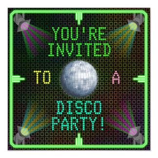 "Customizable 1970's Disco Ball Party 5.25"" Square Invitation Card"