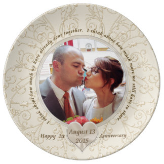 Customizable 1st Anniversary Gift Ideas for Her Dinner Plate