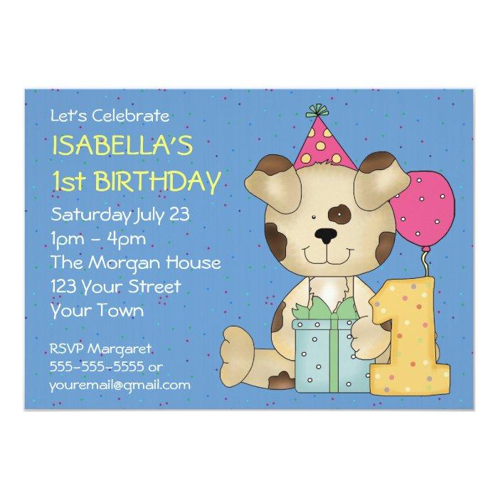 Customizable 1st Birthday Puppy Dog Card