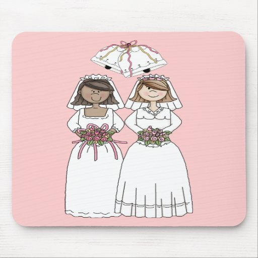 Customizable 2 Brides Gay Wedding Tees, Gifts Mouse Pads