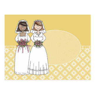 Customizable 2 Brides Gold Oval Card