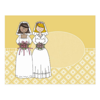 Customizable 2 Brides Gold Oval Card  (3)