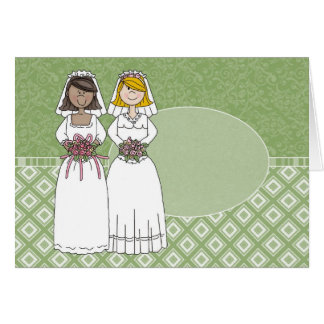 Customizable 2 Brides Green Oval 1 Card