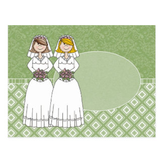 Customizable 2 Brides Green Oval 3 Postcard