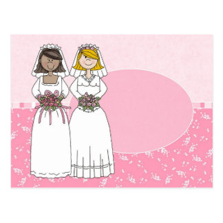 Customizable 2 Brides Pink Oval Card 1
